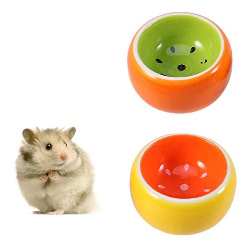 POPETPOP Keramik-Schälchen für Kleintiere - 2er-Pack Hamsterfutter und Wasserschalen - Meerschweinchenschale, Rennmaus, Ratte, Chinchilla, Syrischer Hamster, Igel-Futternapf