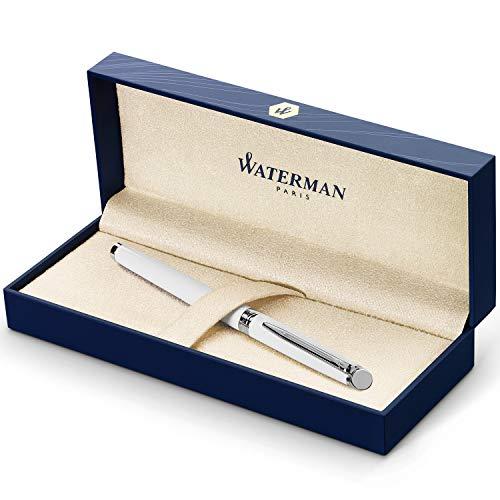 Waterman Hémisphère pluma estilográfica, con adorno cromado, plumín mediano con cartucho de tinta azul, estuche de regalo, color blanco brillante