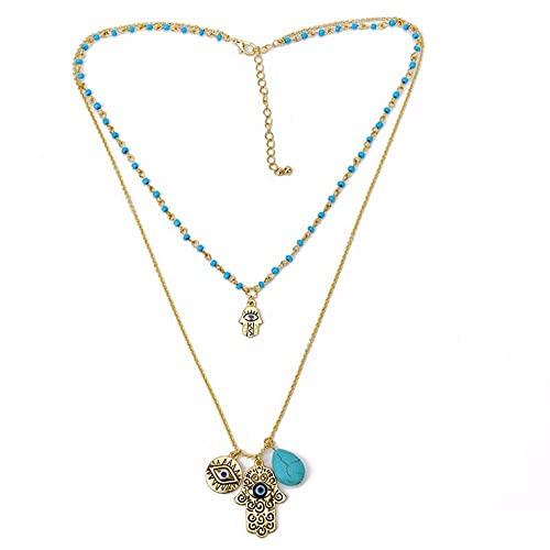 ERZHUI Collar Mujer Moda Joyería Fina Encantos Collar de Mano Azul Cuentas Vintage Collares de Piedra Verde Colgantes