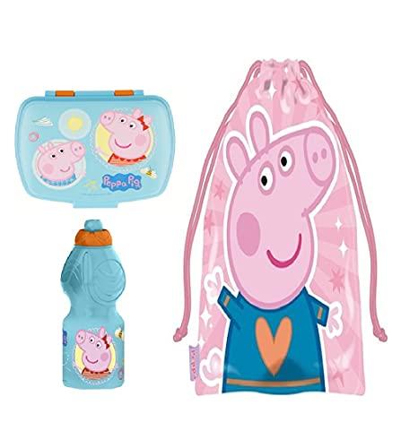 Set sandwichera infantil, botella de agua y Bolsa Merienda de Cuerdas. Pack Diseño Colorido   Sandwichera Escolar   Material Escolar Vuelta al Cole. (Peppa Pig)
