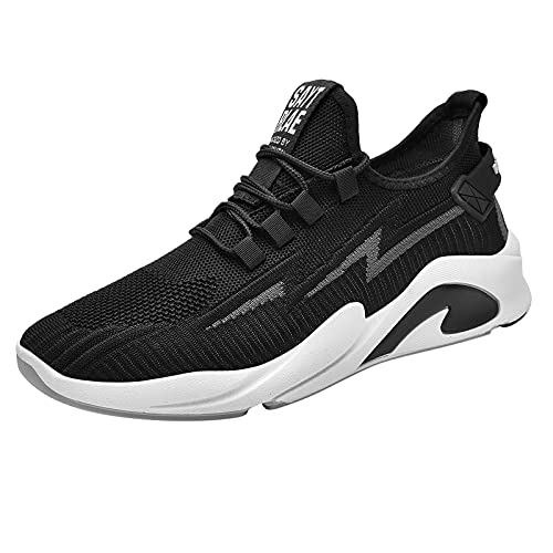 YunYoud Men's Walking Shoes for Men Men Jogging Sneakers Mesh Trail-Runners Cross Woven Men's Shoes Low Top Leisure Sports Running Fashion Men's Shoes Black