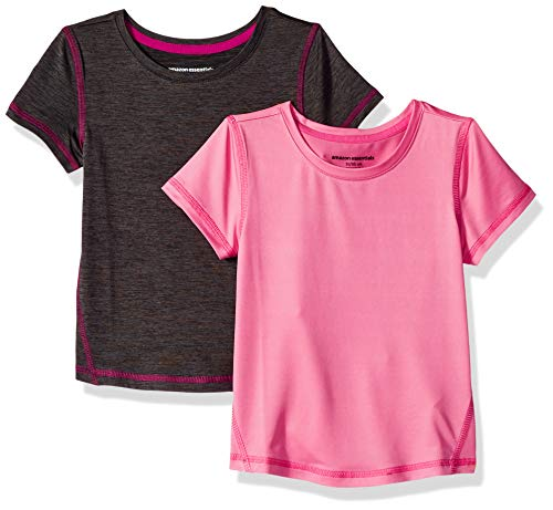 Amazon Essentials Girl's 2-Pack Short-Sleeve Active Tee, Charcoal Heather/Light Pink, 3T
