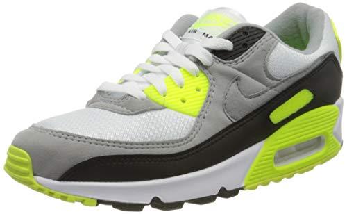 Tênis de corrida masculino casual Nike Air Max 90 Cd0881-103, White/Particle Grey-volt-black, 9