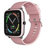 YENISEY Smartwatch, Reloj Inteligentes Mujer con Pulsómetros Monitor de Sueño 5 Caras Menstruación Recordatorio 10 Modos Deportivos y Registrador de Ruta y Smart Watch para Hombre y Mujer - Rosado
