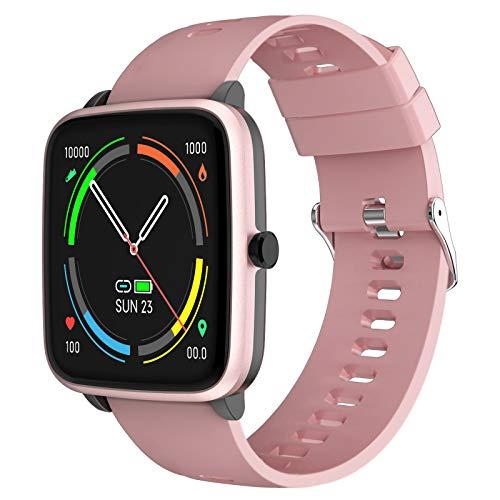 YENISEY Smartwatch, Relojes Inteligentes Mujer con Pulsómetros Monitor de Sueño 5 Caras Menstruación Recordatorio 10 Modos Deportivos y Registrador de Ruta y Smart Watch para Hombre y Mujer - Rosado