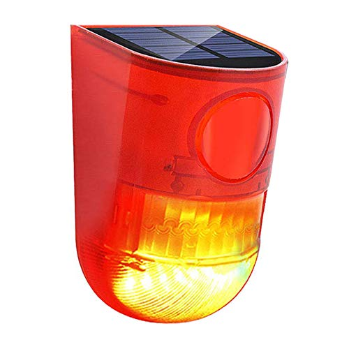 Solaire Animal Répulsif pour Jardin,DINOWIN Extérieur Étanche LED Éclairage Rouge Sécurité SansFil Détecteur de Mouvement Lampe de Nuit