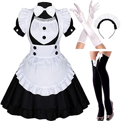Zilosconcy Damen French Maid Dress Cosplay Kostüm Maid Outfit 4 Pcs Maid Dress Kleid Mit Kopfbedeckung Sexy Minikleid Weiße Schürze Dienstmädchen Costume Anime Girl Mittelalter Kleidung