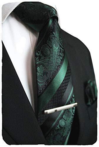 JEMYGINS Dark Green Floral Tie, Silk Necktie and Pocket Square Hankerchef Tie Clip Sets for Men(3)
