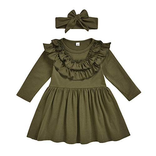 Outfits Clothes for 18-24 Months Boy and Girl, Toddler Kids Baby Girls Solid Ruffle Princess Dress+Headband Outfits Clothes, Girls Outfits&Set (Green 18-24 Months)