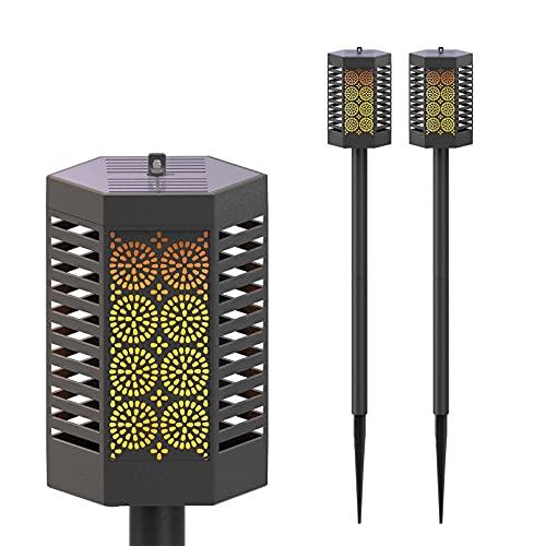 luces solares luces al aire libre Paquete de 2 luces solares para jardín Luz de llama solar Simulación de llama Luces para jardín al aire libre IP65 Luz de paisaje impermeable para puerta de