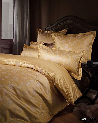 Curt Bauer Luxuriöse Mako-Brokat-Damast Bettwäsche Elizabeth 155x220 cm + 80x80 cm Komfortgröße Farbe: Gold