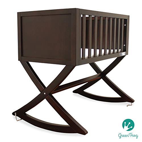 Green Frog, Allegro Cradle | Handcrafted Contemporary Wood Baby Cradle | Premium Pine Construction | Rocking and Stationary | Rich Espresso Color