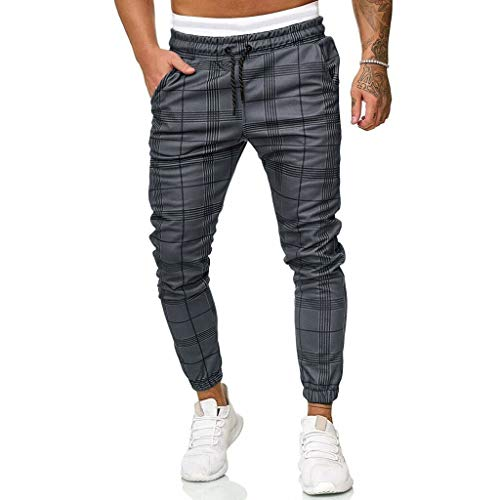 JiaMeng Pantalones Chino Slim Fit Casual para Hombre Pantalones Deportivos Largos e Informales Pantalones a Cuadros de Corte Ajustado Pantalones de chándal para Correr