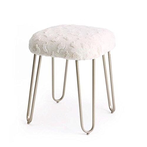 Tabouret en peluche Tabouret de maquillage en métal Tabouret de dressage Chaise à manger Tabouret de table à thé H50CM (Couleur : Beige)