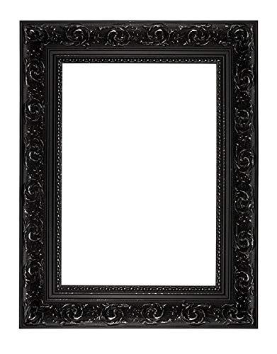 Memory Box - Cornice per Foto e Poster in Stile Barocco con Foglio di Perspex/Vero Vetro – EU-WD-BarqRngOrnt-Px-RL-GlsParent, Polcore, Nero, 40 x 50cm with Perspex Sheet