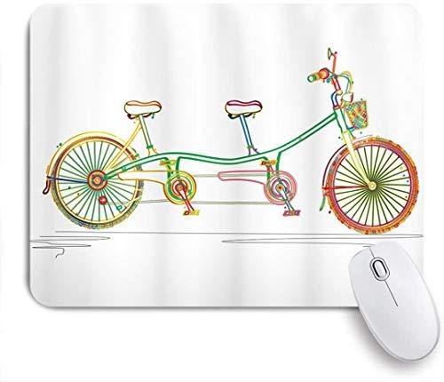 Dekoratives Gaming-Mauspad,Buntes Tandem-Fahrrad-Design auf weißem Hintergrundmuster-Clipart-Art-Druck,Bürocomputer-Mausmatte mit rutschfester Gummibasis