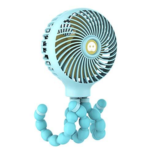 Clip para ventilador del cochecito encendido, ventilador personal portátil con trípode flexible que se puede arreglar, USB o con batería 3 velocidades ajustables, para cochecito de bebé