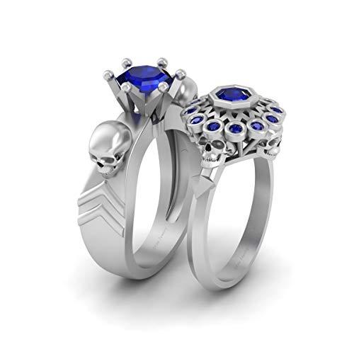 Juego de anillos de compromiso con calavera gótica de zafiro azul para él y ella de oro blanco sólido de 10 quilates para parejas