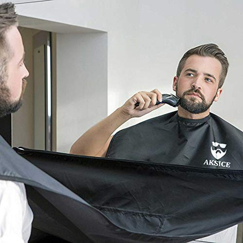 Beard Bib Beard Apron - Beard Hair Catcher for Men Shaving & Trimming, Non-Stick Beard Cape Grooming Cloth, Waterproof, with 4 Suction Cups, Best Gifts for Men - Black