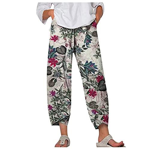 Liably Pantalones de mujer de algodón y lino, anchos, multicolor, con estampado de flash. Pantalones de...