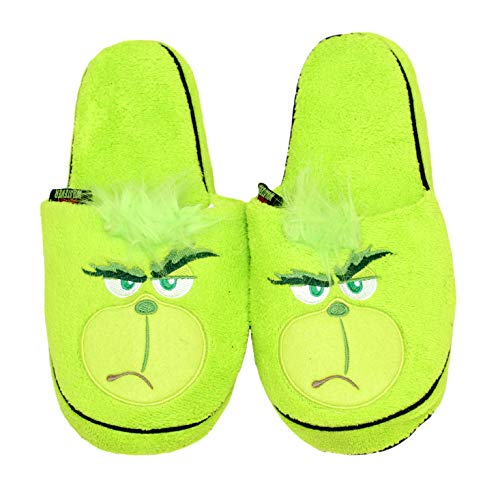 Grinch Adult Merry Whatever Adult Green Embroidered Plush Scuff Slipper S/M