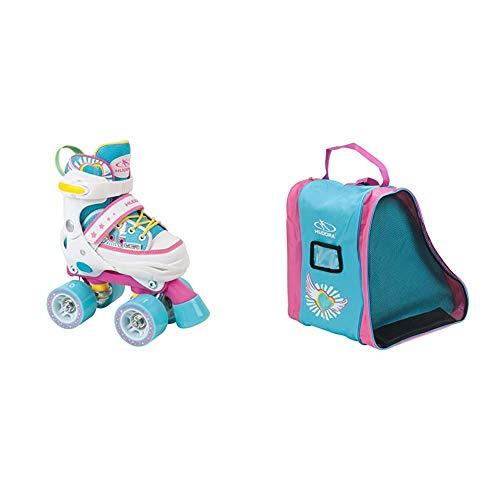 HUDORA Rollschuhe Kinder Mädchen Skate Wonders - verstellbar, Roller-Skates, Disco-Roller, Gr. 28-31, 22036 & Rollschuh-Tasche Kinder, Skater-Tasche Skate Wonders, 29951, M