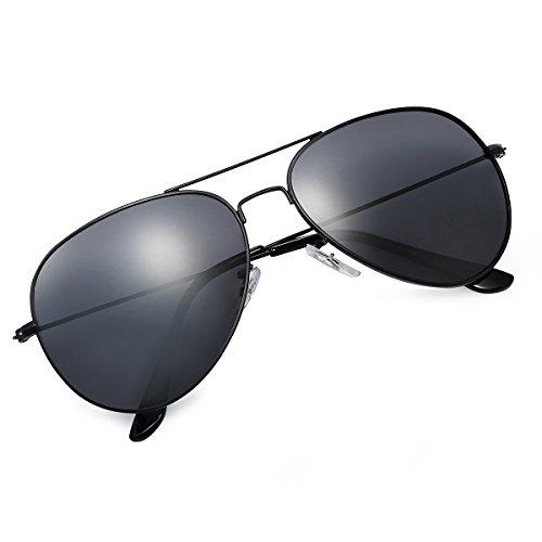 Yveser Polarisierte Sonnenbrille Pilotenbrille für Männer und Frauen Yv3025 (Schwarze Linse/Schwarze Rahmen)