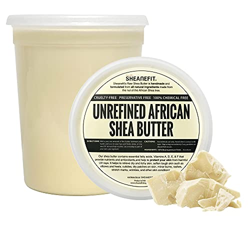 Sheanefit Raw Unrefined African Shea Butter, Natural Body Butter, Soft & Smooth Daily Moisturizer For Face & Body Ivory 32oz (Pack of 1)