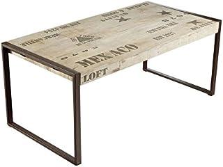 Table à Manger Industrielle 180x90cm - Bois Massif de manguier Brut - Fer et Bois imprimé - Factory #113