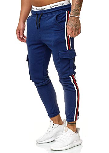 OneRedox Herren | Jogginghose | Trainingshose | Sport Fitness | Gym | Training | Slim Fit | Sweatpants Streifen | Jogging-Hose | Stripe Pants | Modell 1224 Navy L