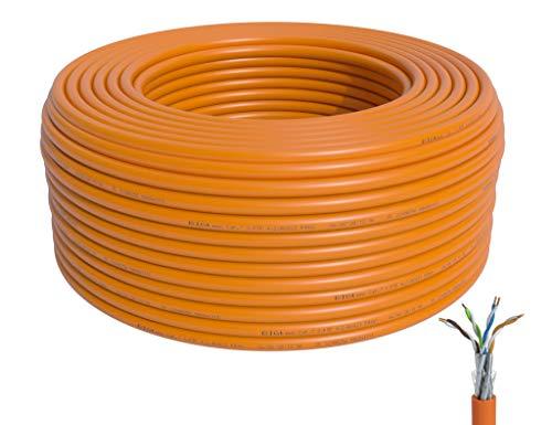 BIGtec CAT 7 Netzwerkkabel Verlegekabel LAN Kabel 50m CAT7 PiMF halogenfrei Zertifiziert GHMT BauPVO Eca POE orange Netzwerk Installationskabel Datenkabel