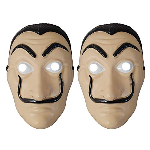Maschera Dali Salvador 2 pezzi Maschera Dali realistica per Halloween Maschera in lattice di plastica La CASA De Papel