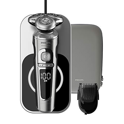 Philips Serie 9000 Prestige SP9861/16 - Afeitadora eléctrica para hombre con bandeja de carga Qi, sensor de densidad de barba, 3 modos, seco/húmedo, con perfilador de barba y funda premium, plata