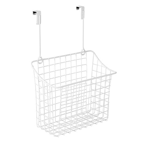 Spectrum Diversified Grid Storage Basket, Over the Cabinet, Steel Wire Sink Organization for Kitchen & Bathroom, Large, White, 3 ounce