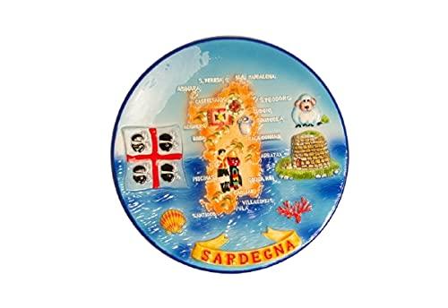 ZAMBIASI Piatto in Ceramica con Rilievo Sardegna 15cm