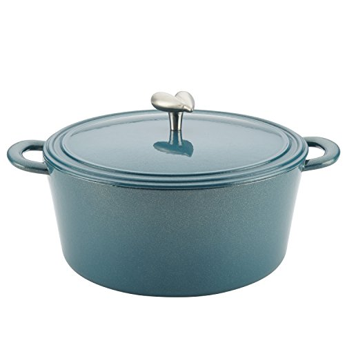 Ayesha Curry Cast Iron Enamel Casserole Dish/ Casserole Pan / Dutch Oven with Lid - 6 Quart, Twilight Teal