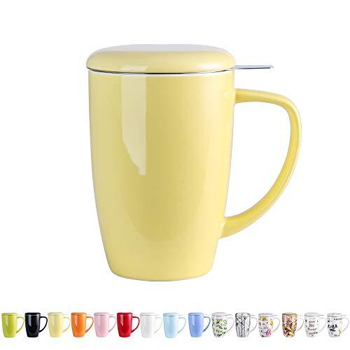 LOVECASA Tazas de Té con Tapa y Filtro Acero inoxidable 450 ML, Tisana de Porcelana Amarillo