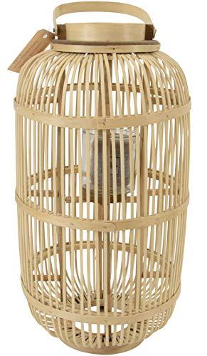 Windlicht Bodenlicht Laterne Bambus Glas 30x56 cm