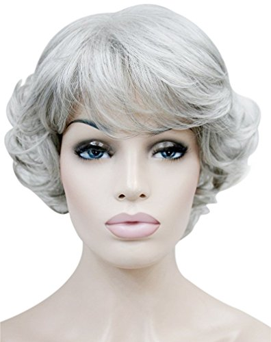 Kalyss Sliver Grey Short Curly Wigs with Hair Bangs for Women Heat Resistant Natural luster Synthetic 70's Look Full Hair Wigs for Women