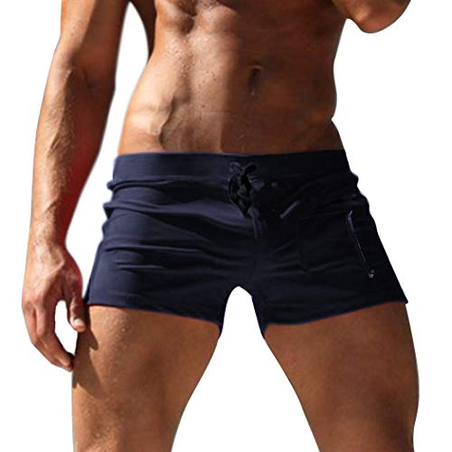 COOFANDY Men's Beach Swimming Trunks Solid Square Leg Swimsuit with Zipper Pocket Navy Blue