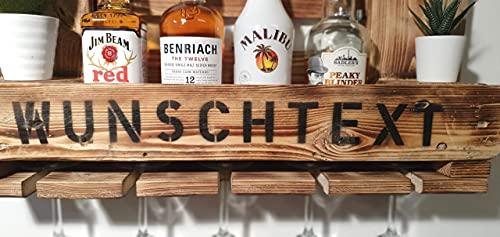 Weinregal Holz Schnapsregal vintage Getränkespender Küche Bar Regal Wandregal rustikal Europalette - 4