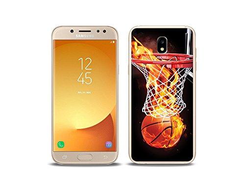 etuo Handyhülle für Samsung Galaxy J5 (2017) Handyhülle Schutzhülle Etui Hülle Case Cover Tasche für Handy Foto Case - Zeit für Basketball