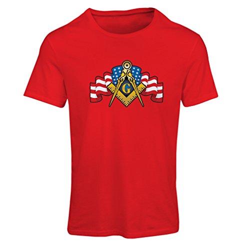 Frauen T-Shirt Freimaurer Logo (XX-Large Rot Mehrfarben)