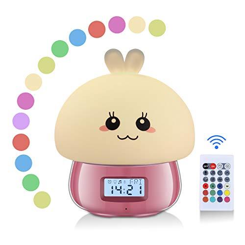 Sveglia Digitale da Comodino, Sveglia per Bambini Imparare con Luce Notturna, Neonati Regali, Sveglia per Ragazze Rosa, Lampada Touch, 7 Colori, 11 Suoni, Mostra Temperatura Data e Ora