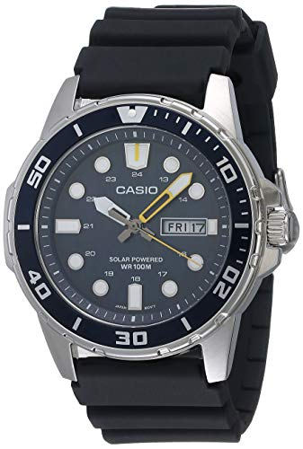 Casio Men's Stainless Steel Quartz Resin Strap, Black, 22 Casual Watch (Model: MTP-S110-2AVCF)