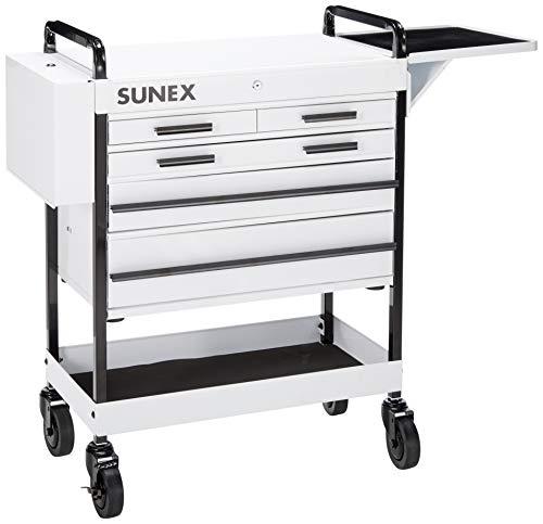 Sunex 8045WH Heavy Duty 5 Drawer Service Cart-White