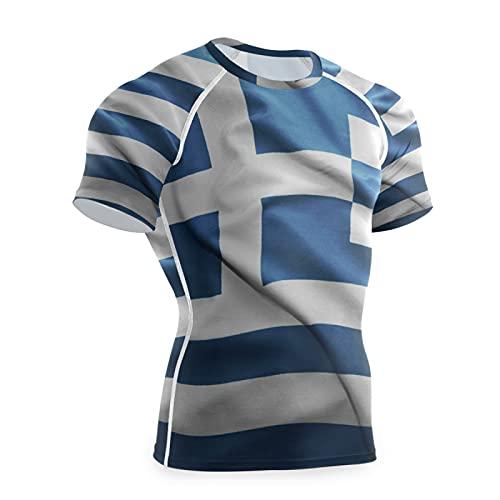 Magnesis Camiseta de compresión de manga corta con diseño de bandera de Grecia