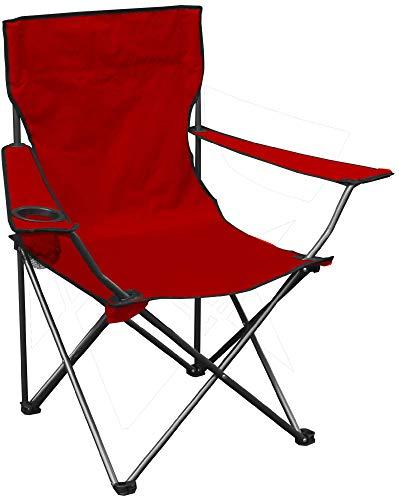 Quik Shade Chair Portable Folding Chair with Arm Rest Cup Holder and Carrying and Storage Bag, Red (146115)