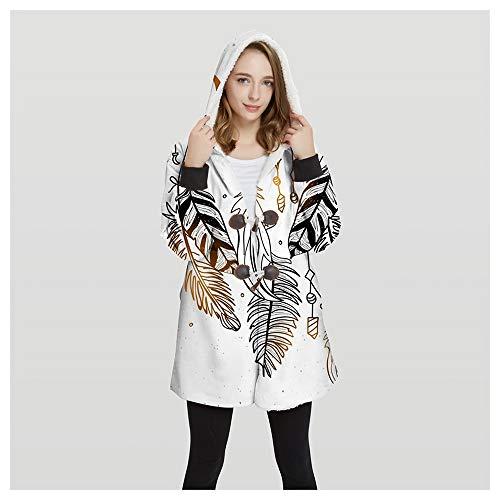 FUFU Mantas y mantitas La camiseta de la manta, la hoja 3D Sherpa felpa Ultra Imprimir con capucha manta usable, de gran tamaño con capucha manta con mangas for los hombres, mujeres, niños, botón fáci