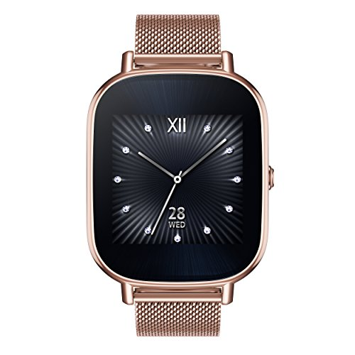 Asus Zenwatch 2 WI502Q-3MRGD002 (3,7 cm (1,45 Zoll), Qualcomm Snapdragon, 320 x 320 pixels, Android, Amoled, 4GB, Metallarmband) milanaise/rosegold